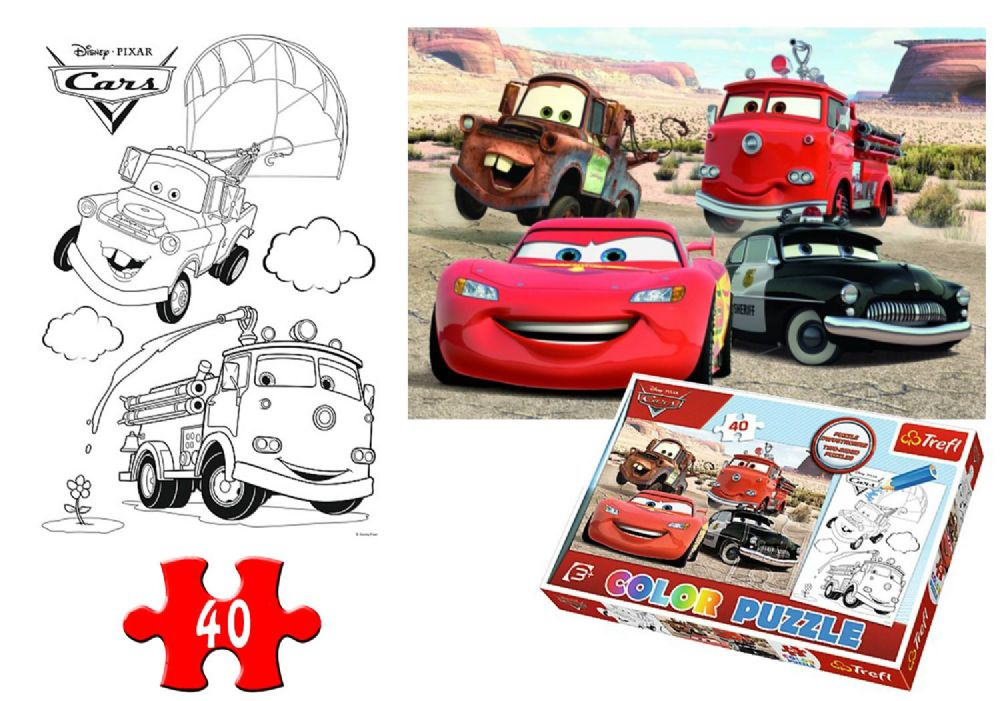 Trefl Boys Girls Disney Cars 2 Sided Colour Jigsaw Puzzle 40 Pieces Gift